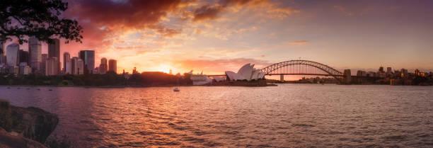 Sydney Harbor sunset panorama stock photo