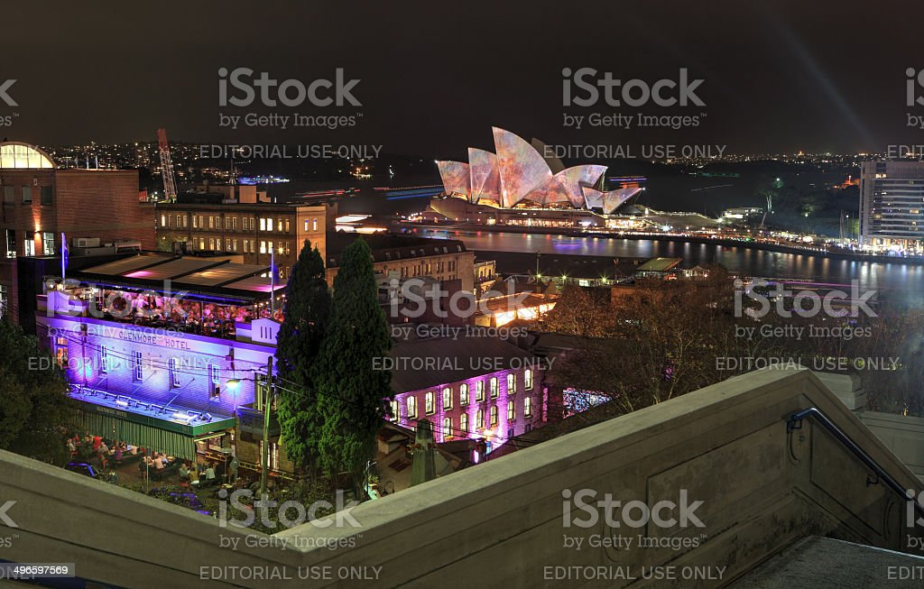 Sydney Harbour and The Rocks by Night royalty-free stock photo