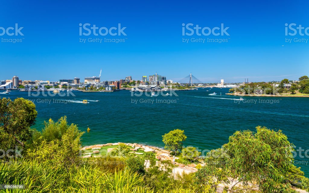 Sydney Harbour as seen from Barangaroo Reserve Park stock photo