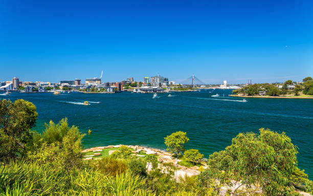 sydney harbour as seen from barangaroo reserve park - barangaroo stock photos and pictures