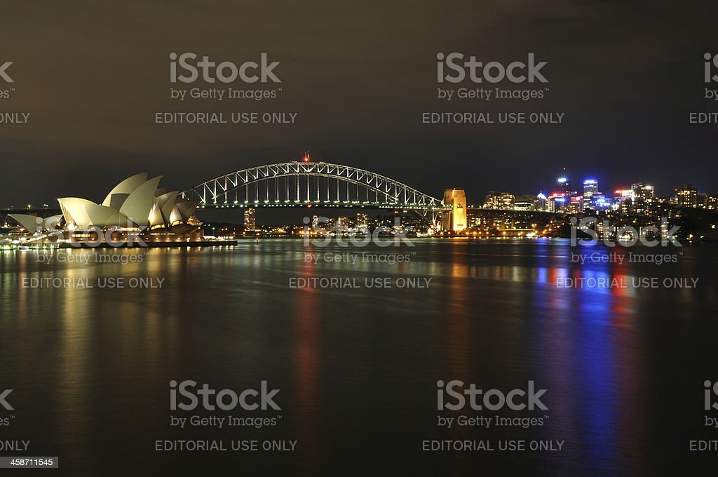 Sydney Harbour at night stock photo