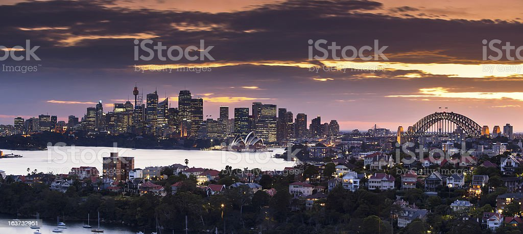 Sydney harbour at sunset stock photo