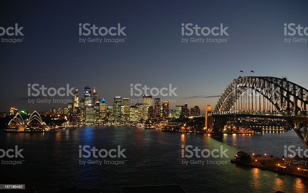 Sydney Harbour Bridge & CBD, Late Evening royalty-free stock photo