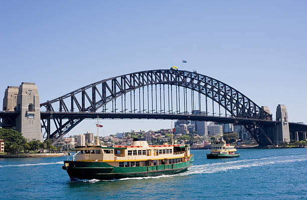 Sydney Harbour Bridge and City Skyline in Australia stock photo