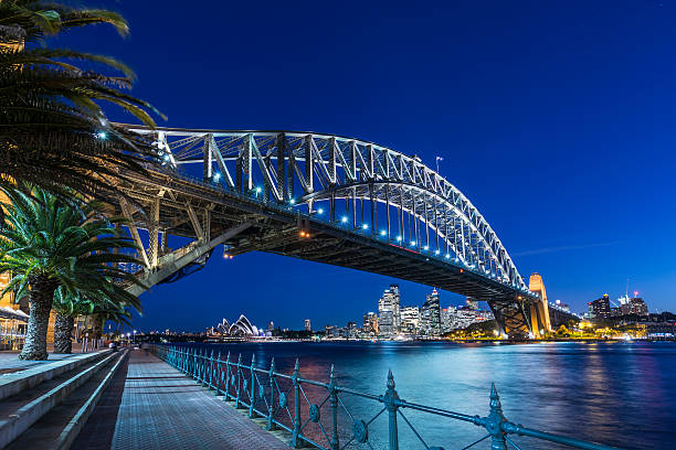 Sydney Harbour Bridge and Cityscape Illuminated at Dusk, Australia​​​ foto