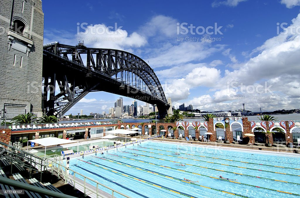 Sydney, Harbour Bridge and Olympic Swimming Pool royalty-free stock photo