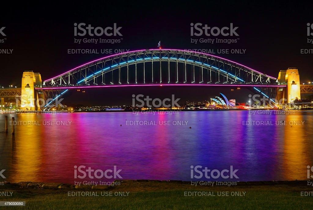 Sydney Harbour Bridge and Opera House in lights stock photo