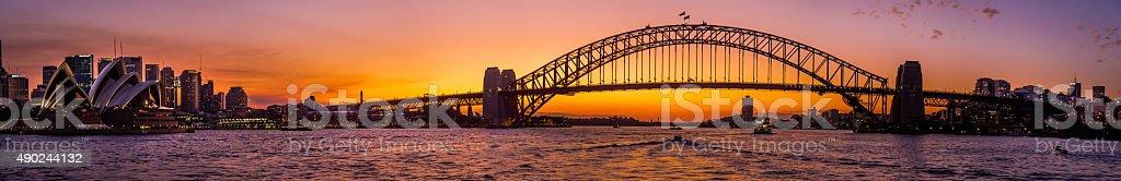 sydney harbour bridge and Opera House panorama, Sunset stock photo