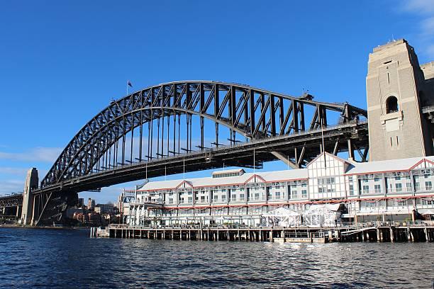 Sydney Harbour Bridge and Pier One stock photo