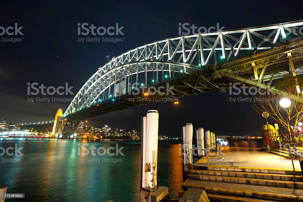 Sydney Harbour bridge at night royalty-free stock photo