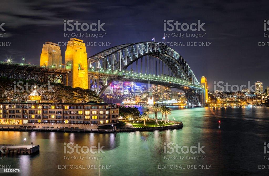 Sydney Harbour Bridge At Night stock photo