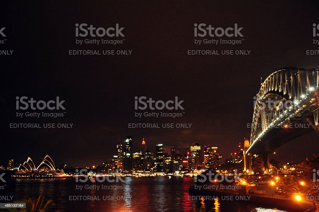 Sydney Harbour Bridge at night time in Australia. stock photo