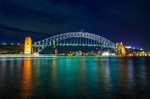 Sydney Harbour Bridge at night with colourful lights stock photo