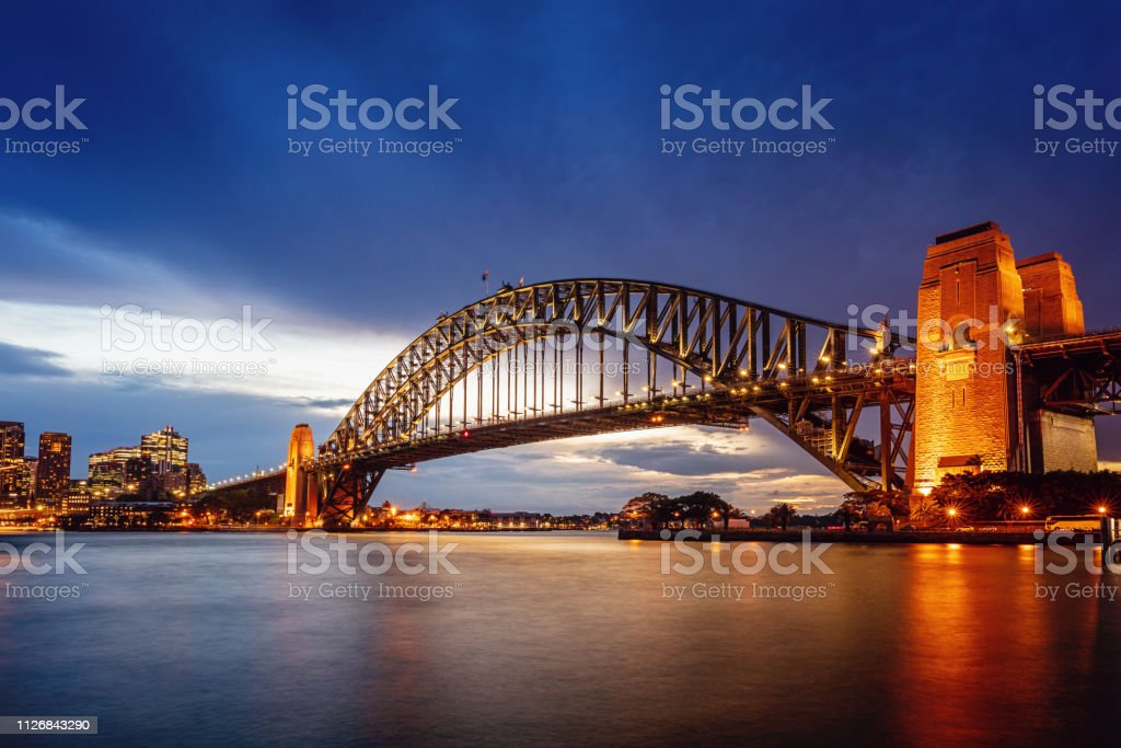 Sydney Harbour Bridge at Twilight Australia stock photo