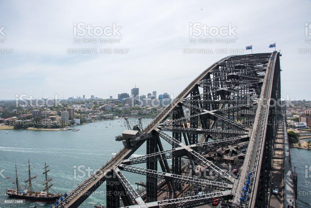Sydney Harbour Bridge, Climbers and Tall Ship stock photo