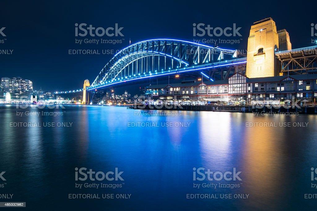 Sydney Harbour Bridge during Vivid 2015 stock photo