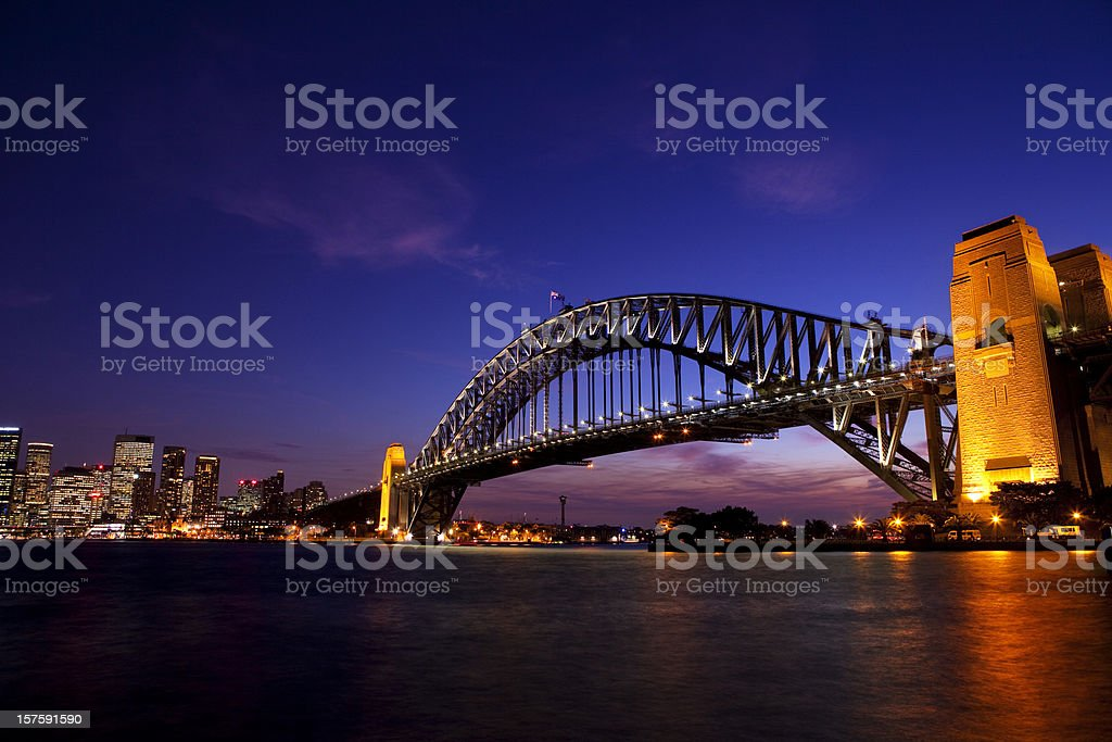 Sydney Harbour Bridge Dusk royalty-free stock photo