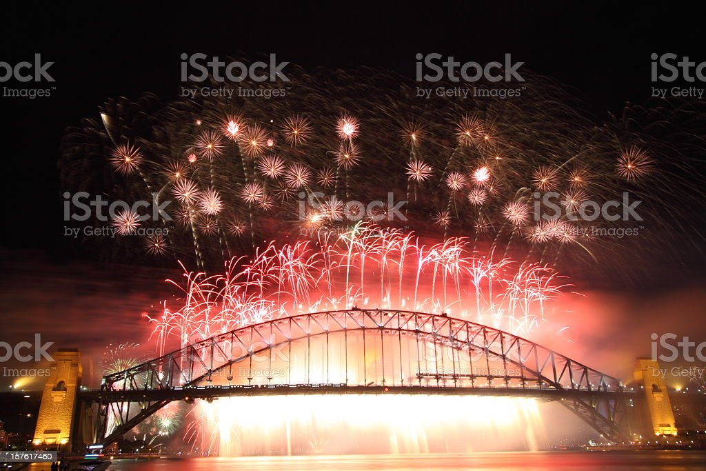 Sydney Harbour Bridge Fireworks - New Year 2010 royalty-free stock photo