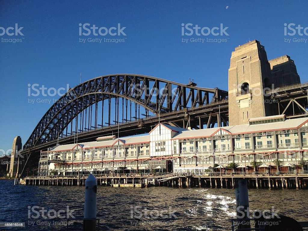 Sydney Harbour Bridge from Walsh Bay stock photo