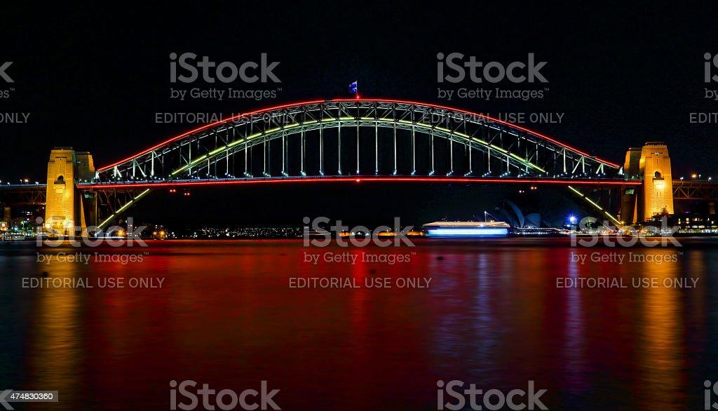 Sydney Harbour Bridge ilights in red for Vivid Sydney Festival stock photo