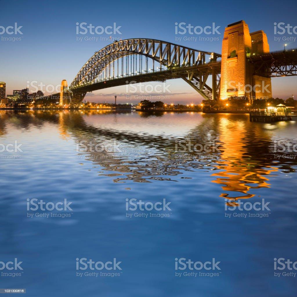 Sydney Harbour Bridge Illuminated at Twilight Square stock photo