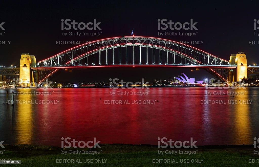 Sydney Harbour Bridge in Red stock photo