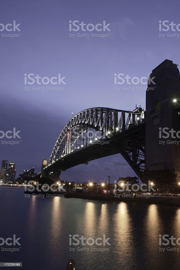 sydney harbour bridge in the evening royalty-free stock photo