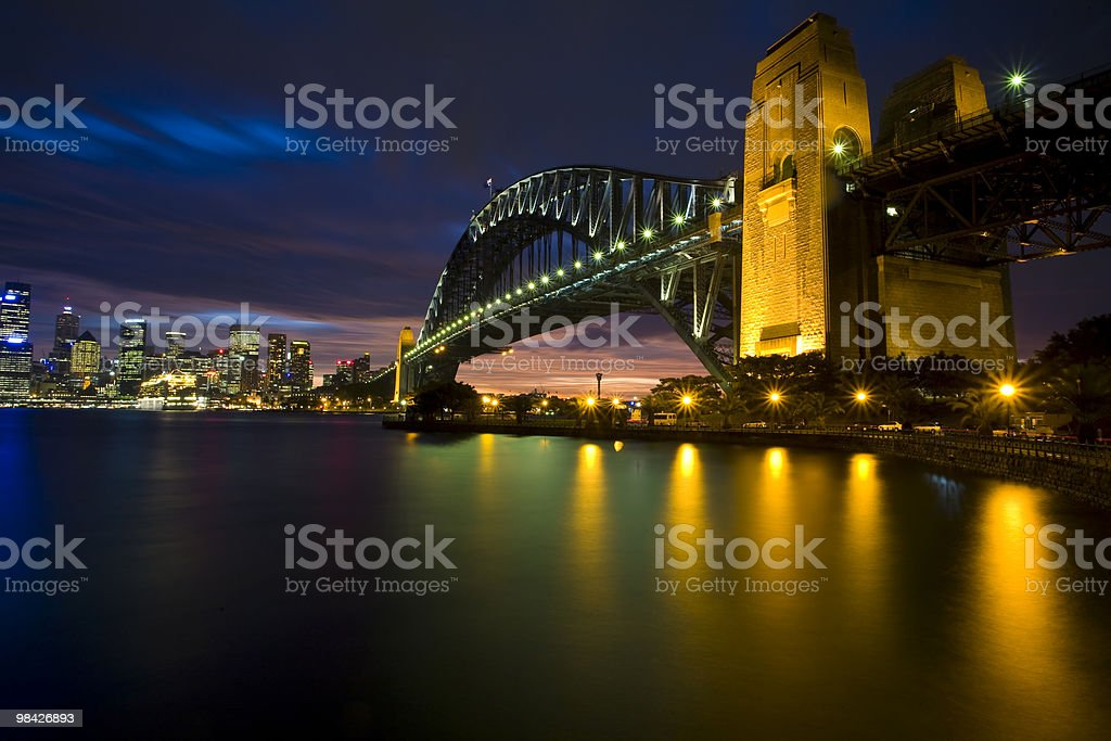 Sydney Harbour Bridge Night royalty-free stock photo