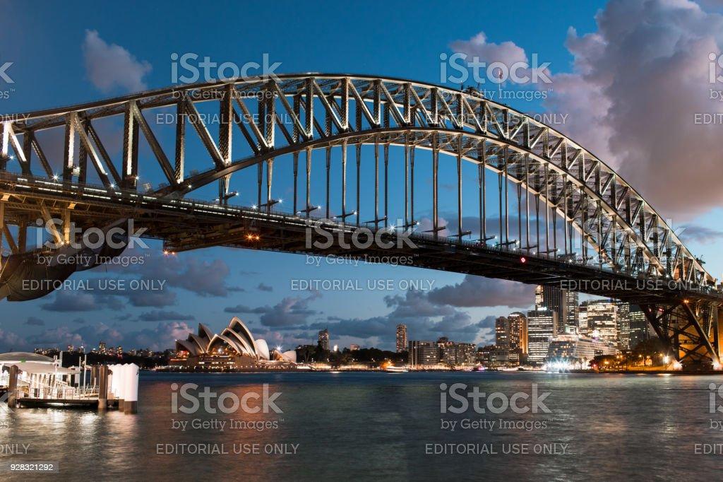 Sydney Harbour Bridge on a clear night stock photo