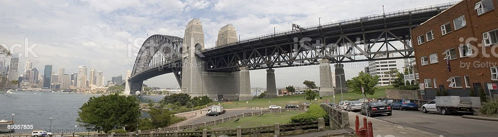 Sydney Harbour Bridge Panorama-est foto stock royalty-free