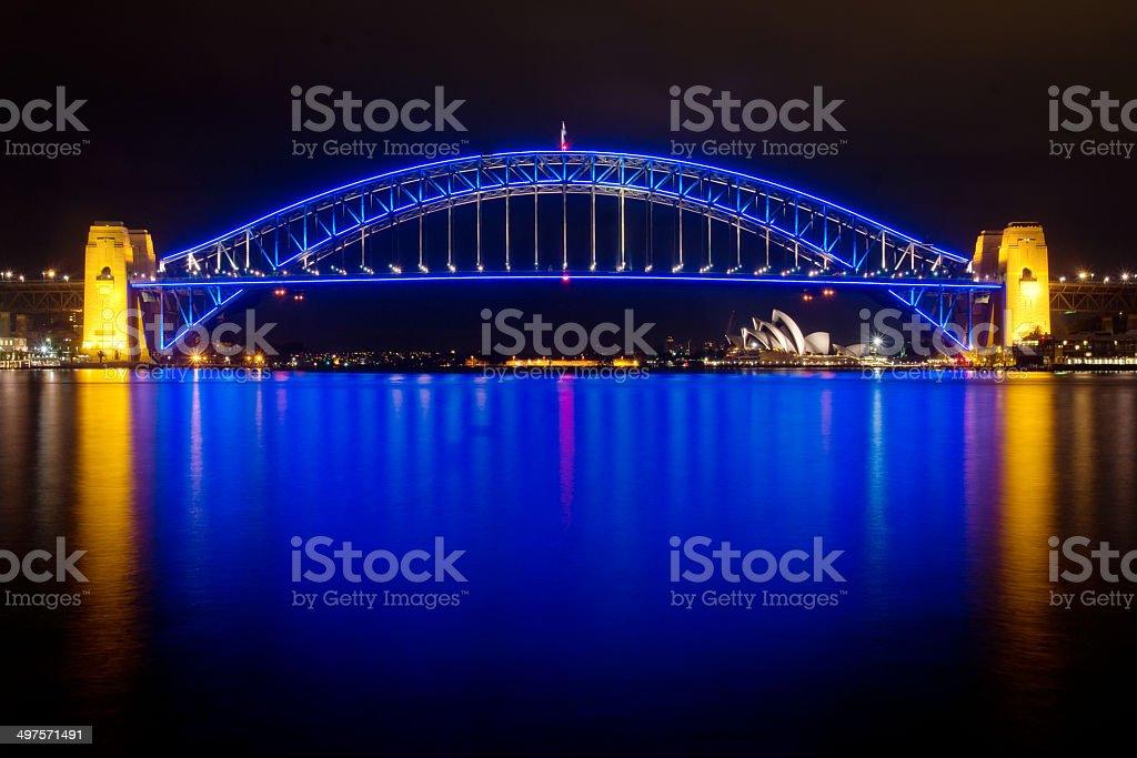 Sydney Harbour Bridge - State of Origin stock photo