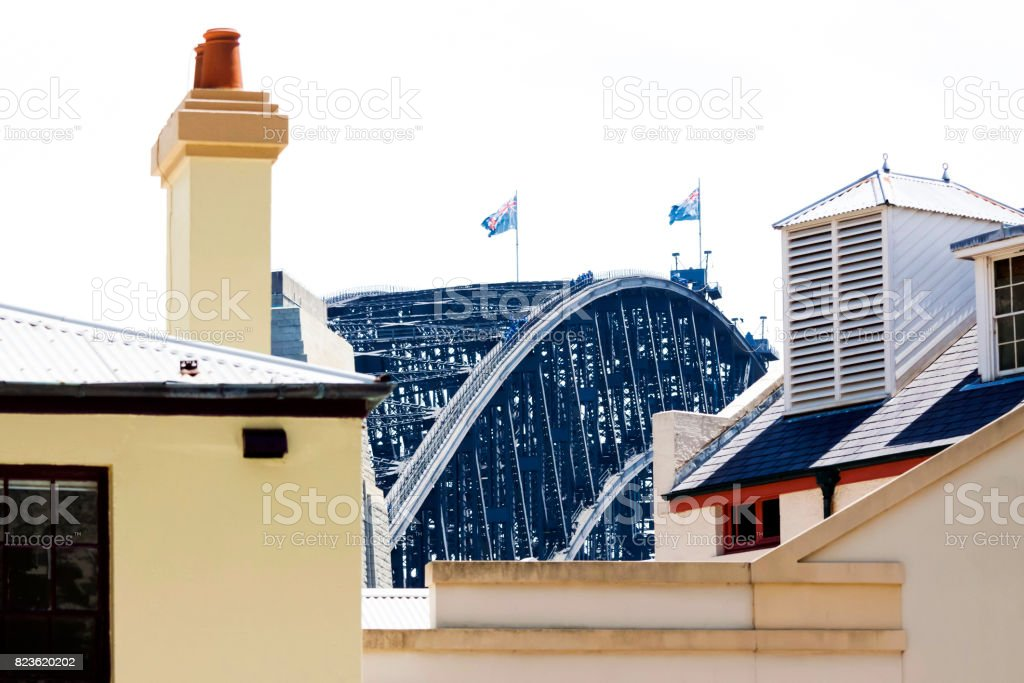Sydney Harbour Bridge view from The Rocks, copy space stock photo