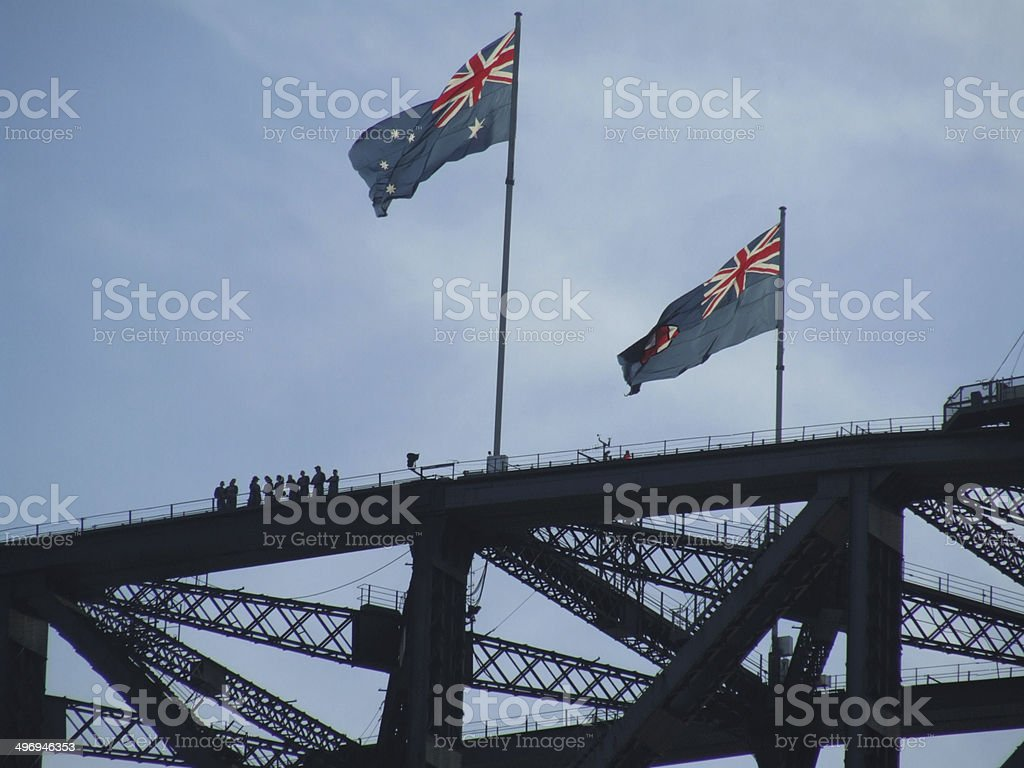 Sydney Harbour Bridge with climbers stock photo