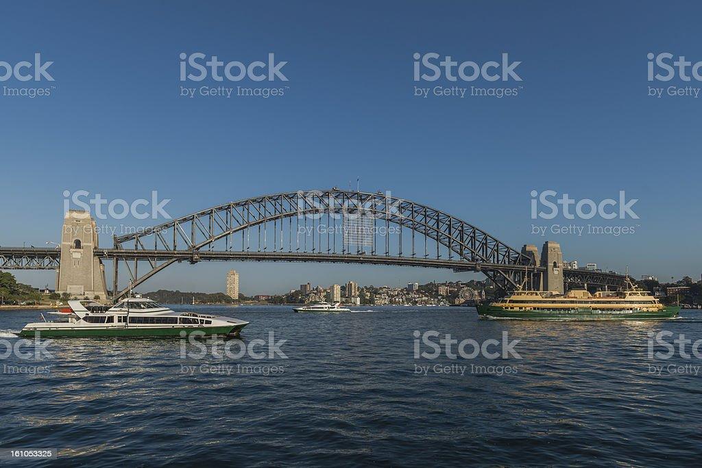 Sydney Harbour Bridge with three ferries, Australia royalty-free stock photo