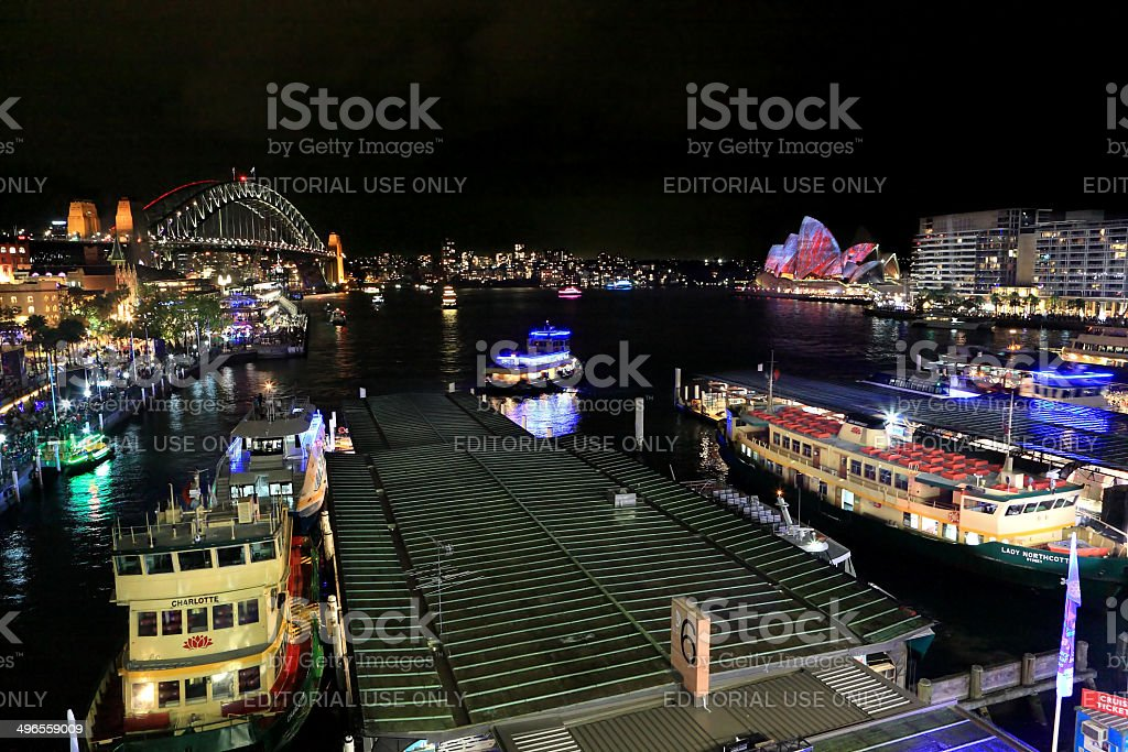 Sydney Harbour, City, Circular Quay and The Rocks during Vivid Sydney royalty-free stock photo