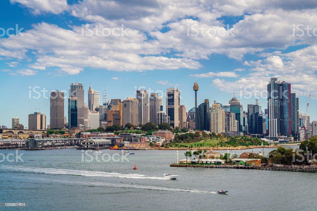 Sydney Harbour Cityscape Waterfront Barangaroo Reserve Skyline Australia stock photo