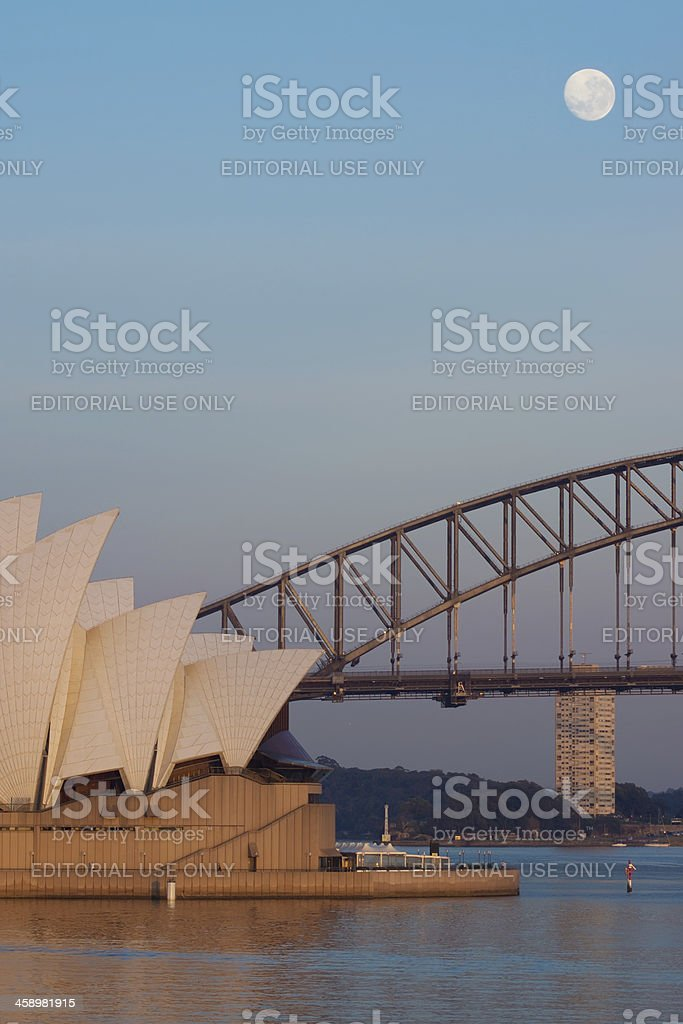 Sydney Harbour Moonset royalty-free stock photo