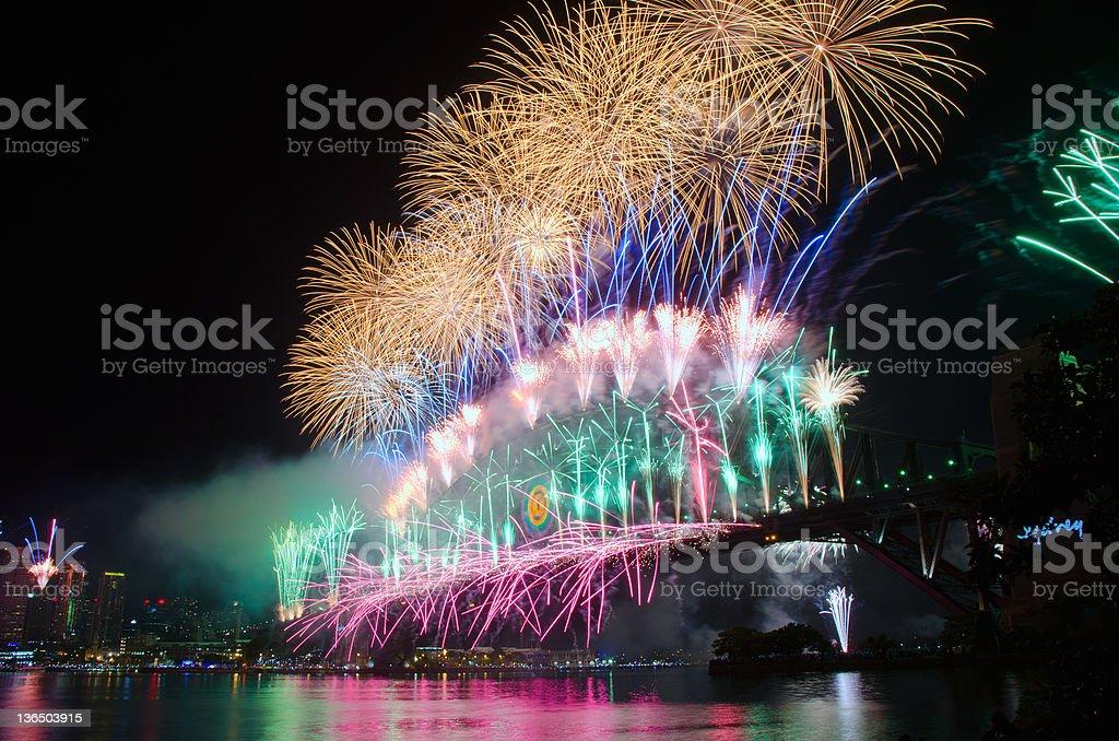 Sydney Harbour New Year's Eve NYE Fireworks stock photo