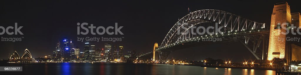 Sydney Harbour Night Panorama (XXL w/ Opera House) royalty-free stock photo