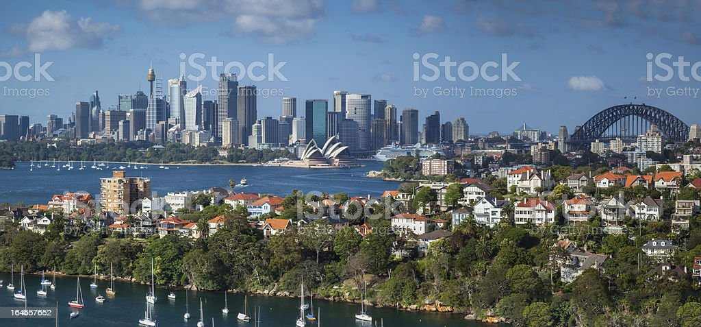 Sydney Harbour Panorama from Mosman Bay stock photo