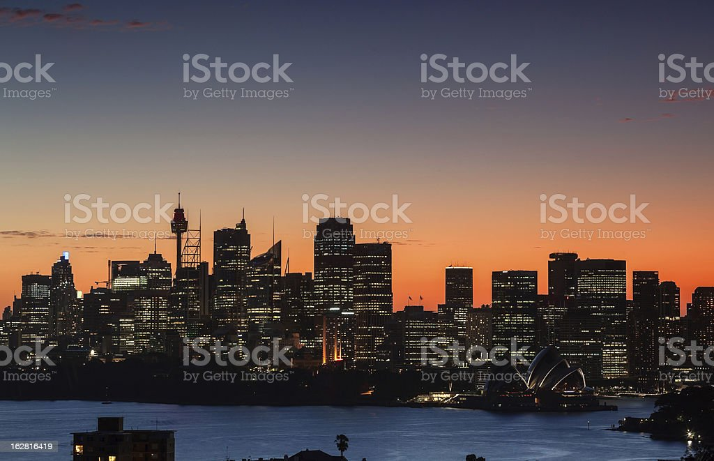 Sydney harbour sunset stock photo