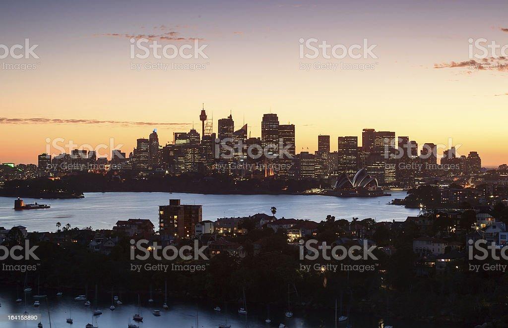 Sydney harbour sunset royalty-free stock photo