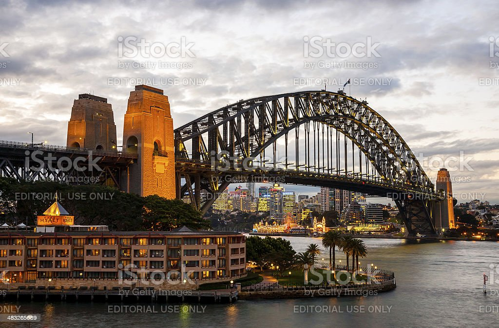 Sydney Harbour with the Harbour Bridge at dusk royalty-free stock photo
