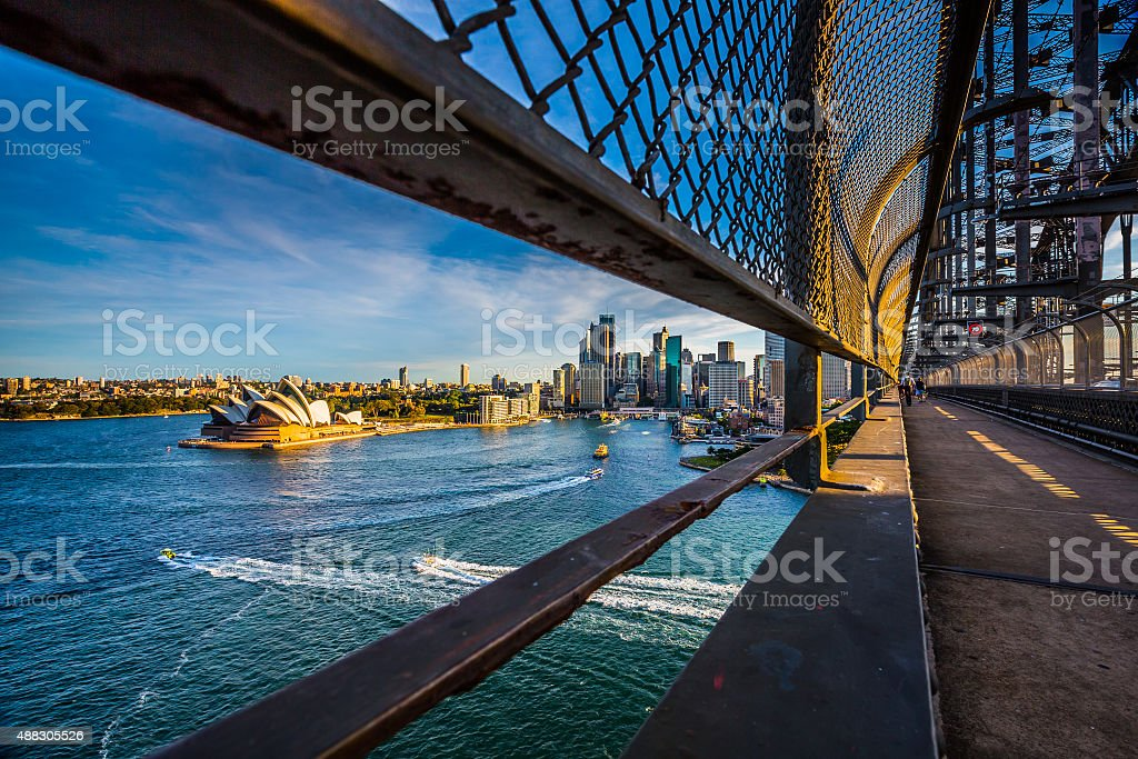 Sydney high angle view from the bridge. stock photo