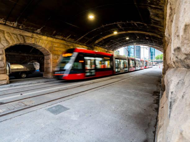 Sydney Light Rail commissioning outside Central railway station, along Eddy Ave. stock photo