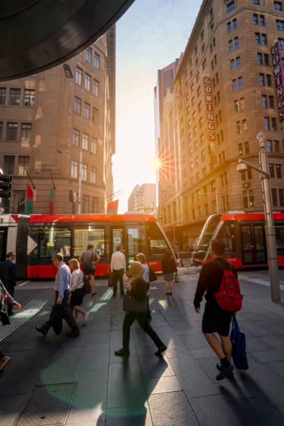Sydney light rail in testing within the Sydney Central Business District. stock photo