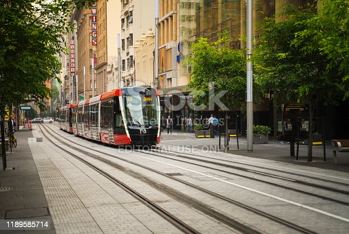 Sydney, Australia - November 2, 2019: Sydney Light Rail infrastructure project nears completion and commences testing on George Street.