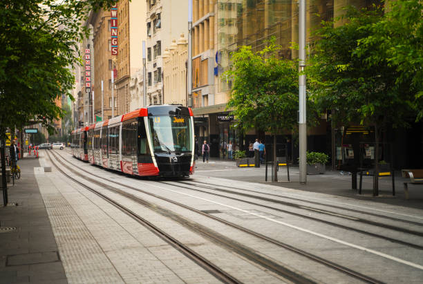 Sydney Light Rail infrastructure project nears completion and commences testing on George Street. stock photo