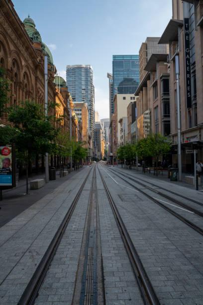 Sydney, Australia - November 2, 2019: Sydney Light Rail infrastructure project nears completion. The Sydney light rail project is a multi-billion dollar infrastructure investment. stock photo