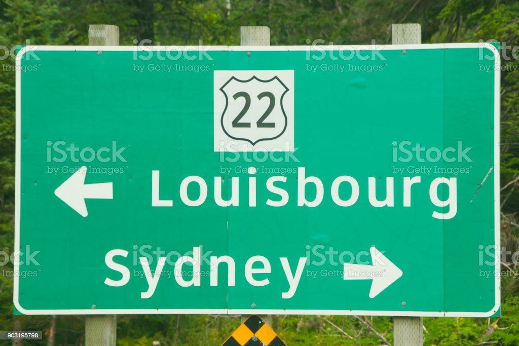 Sydney & Louisbourg Road Sign stock photo